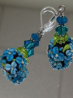 Handmade Lampwork Glass Beaded Earrings  by nycfashionconnection, $32.00
