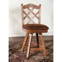 """Check out the Sunny Designs 1848RO-S Sedona 24""""H Double Cross Back Swivel Barstool in Rustic Oak priced at $297.50 at Homeclick.com."""
