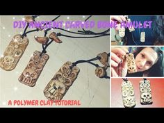 Old carved bone AMULET! A polymer clay tutorial!