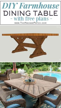 DIY Farmhouse Table / Trestle Table - The Navage Patch. Our DIY Farmhouse Table is made of pressure-treated pine with a cedar plank top to keep the cost low and make it suitable for outdoor use! Outdoor Farmhouse Table, Farmhouse Table Plans, Diy Outdoor Table, Diy Outdoor Furniture, Furniture Ideas, Outdoor Patio Tables, Farmhouse Outdoor Furniture, Trestle Table Plans, Farmhouse Decor