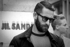 old school part, lumberjack beard and swagtastic shades. the perfect combo.