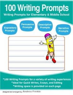 100 Writing Prompts makes your creative writing process easier by offering a variety of authentic writing situations. Students can pull in personal experiences and prior knowledge to write about topics that interest them.  100 Writing Prompts includes prompts appropriate for students in elementary and middle school grades.