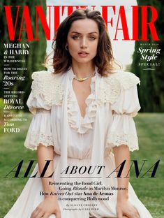 Knives Out actress Ana de Armas takes the cover of Vanity Fair Magazine's March 2020 edition captured by fashion photographer Cass Bird. V Magazine, Vanity Fair Magazine, Magazine Covers, Magazine Design, Ugly Americans, Ray Donovan, Matthew Mcconaughey, Marie Claire, Saint Laurent
