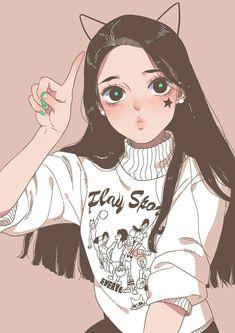 Excellent simple ideas for your inspiration Anime Girl Cute, Kawaii Anime Girl, Kawaii Art, Anime Art Girl, Manga Art, Manga Drawing, Anime Girls, Cartoon Art Styles, Cute Art Styles