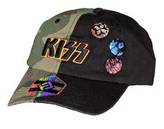 40bc43796a2 Check out this officially licensed KISS hat featuring the band s logo and  three band pins on the front. Strap back.