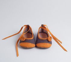 Linen and leather baby ballerina shoes via Etsy