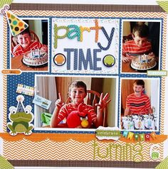 "Jodi Wilton's ""Party Time"" layout using Bella Blvd Birthday Boy product. Birthday Scrapbook Layouts, Scrapbook Page Layouts, Baby Scrapbook, Scrapbook Albums, Scrapbook Cards, Scrapbooking Ideas, Photo Layouts, First Birthday Parties, Boy Birthday"