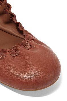 Slight heel Brown textured-leather Slip on Designer color: Rame