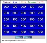 Instrument Jeopardy for Smart Board: Woodwind, Brass, String, Percussion Music Activities, Music Games, Singing Games, Primary Activities, Kids Music, Rhythm Games, Music Lesson Plans, Music Lessons, Piano Lessons