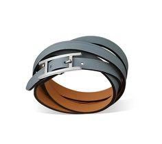 "Hapi 3 MM  Hermes leather bracelet   Linen blue swift calfskin    Silver and palladium plated hardware, 24.5"" long, 0.3"" wide"