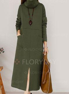 Платья - $40.77 - Повседневное платье из хлопока длины миди цвета сплошного с длинными рукавами (1955115573)