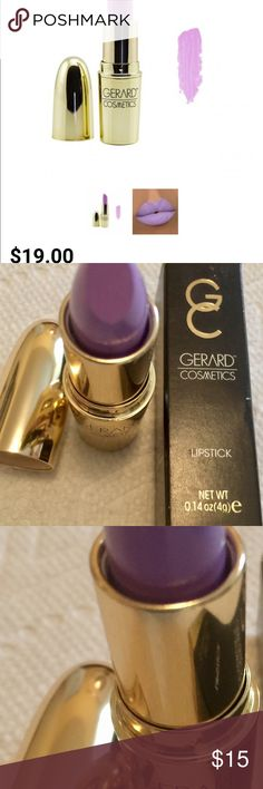 Gerard Cosmetic Lipstick Lilic Moon Matte $19retai Gerard Cosmetic Lipstick Lilic Moon Matte Long Lasting Cruelty Free $19 plus tax retail. LILAC MOON  TEXTURE: MATTE 8OZ  Ultra mystical with a pastel pop, this creamy light purple will delight the playful and girly lipstick lovers who aren't afraid of a bold and opaque hue. This color will show you a side of the moon you've never seen before. Gerard Cosmetics Makeup Lipstick
