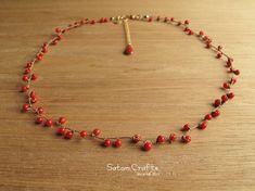 【受注製作】Necklace, Beans (Coral)