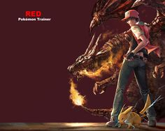 1boy culo baseball_cap cinturón belt_pouch black_hair black_shirt blue_pants breathing_fire character_name garras Charizard closed_mouth denim llama fiery_tail electricidad fuego from_behind grey_shoes full_body vaqueros sombrero male_focus open_clothes open_vest pantalones Pikachu pokemon_ pokemon poke_ball (criatura) pokemon_ (juego) pokemon_rgby r-Sraven Red_ (pokemon) red_background red_hat escalas red_vest los zapatos de la camisa sharp_teeth graves simple_background zapatillas de…