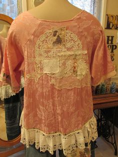 Vintage Kitty.. french market tunic dusky rose pink floral