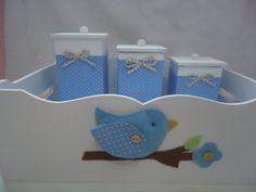 Kit Higiene Bebê Passarinho Azul