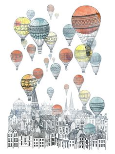 Voyages over Edinburgh Art Print. Hot Air Balloons + Scotland = Great idea for my boys' bedroom Art And Illustration, Balloon Illustration, Buch Design, Inspiration Art, Art Plastique, Oeuvre D'art, Art Photography, Landscape Photography, Creations