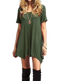 American Trends Women s Short Sleeve Casual Loose T-Shirt Dress Tunic Tops  for Leggings Tee 5ae211168