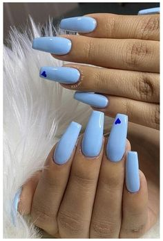 Long Square Acrylic Nails, Blue Acrylic Nails, Acrylic Nails Coffin Short, Simple Acrylic Nails, Purple Nails, Blue Coffin Nails, Light Blue Nails, Matte Nails, Pastel Blue Nails