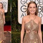 Brie Larson de Calvin Klein e joias Tiffany & Co. - Golden Globes 2016