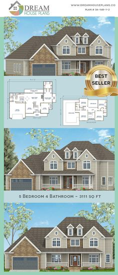Dream House Plans: Affordable yet luxury Southern 5 Bedroom, 3111 Sq. - House Plans, Home Plan Designs, Floor Plans and Blueprints Simple House Plans, Dream House Plans, Basement House Plans, House Blueprints, Unique Architecture, Plan Design, Open Floor, Great Rooms, New Homes