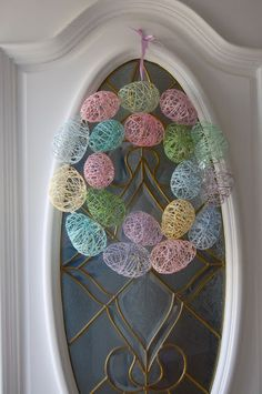 holiday, wine, string egg, craft, water balloons, easter wreaths, easter eggs, spring wreaths, egg wreath