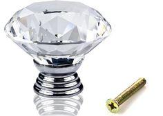 1pc en verre de diamant en verre porte tiroir armoire poignée poignée AT