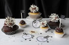 Itsy Bitsy Spider cupcakes by Icing Designs ... glittered circle tags/ labels by Icing Designs too
