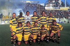 Great Calcio Sides: Parma Of The 90s   Forza Italian Football. Loved watching this team during the era when channel 4 brought italian football to British screens. Nevio Scala the manager moulded wonderful teams (Buffon, Mussi, Cannavaro, Thuram, Bennarivo, Veron, Fuser Chiesa, Crespo, Dino Baggio, Zola, Asprilla)