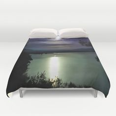 Blue Sunset Over Water is an original painting on canvas inspired by travel and my own photography. #Blue Coastal #Sunset #Duvet #Cover by Taiche | Society6 https://society6.com/product/blue-coastal-sunset-h4h_duvet-cover#s6-8102204p38a46v342