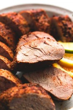 Crispy on the outside, juicy and tender on the inside, and amazing flavors make this the BEST baked pork tenderloin recipe! No marinade or searing needed! Pork Roast Recipes, Pork Tenderloin Recipes, Meat Recipes, Cooking Recipes, Pork Loin, Baked Tenderloin, Pork Tenderloins, Pork Meals, Dining