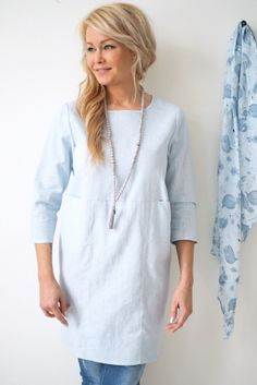 HAPPINESS Linen Tunic, BABY BLUE