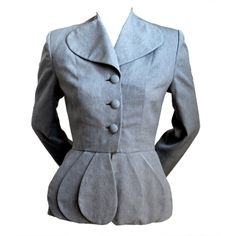 1940's LILLI ANN grey brocade jacket with peplum | From a collection of rare vintage jackets at http://www.1stdibs.com/fashion/clothing/jackets/