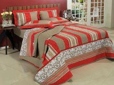 Kit: 1 Cobre-leito Casal + 2 Porta-travesseiros Percal 200 fios - Granada Vermelho - Dui Design | Vida e Cor