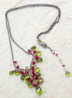Peridot and Ruby Briolettes and Rondelles by NakedPlanetJewelry, $138.00