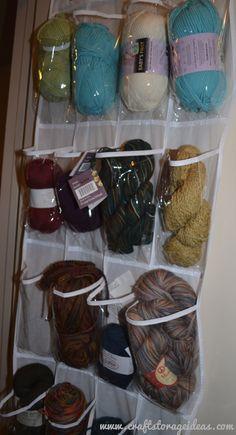 Use over the door shoe organizers to stow craft supplies. via www.craftstorageideas.com