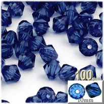 Bicone Beads, Transparent, Faceted, 10mm, 100-pc, Royal Blue