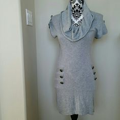 """g r a y • s h i f t • d r e s s knitted heather gray short sleeves dress/top cowl neck antique gold buttons  Flat measurements across: length:  31.5"""" pit-to-pit:  16"""" Mustard Seed Dresses Asymmetrical"""