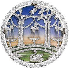 ALBION ART Antique Jewelry - Platinum, diamond, enamel brooch. Chaumet, France, c.1910