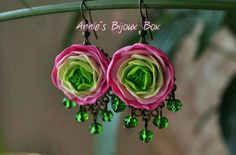 Handmade Polymer clay flowers earrings