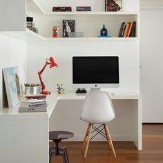 """Home office basiquinho em """"L"""" pra aproveitar aquele espaço perdido! ❤ #decoraçãopravocê #homeofficedpv"""