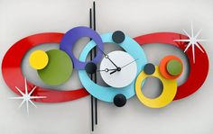 Home favorites Accessorize with modern dishware, retro lights and midcentury clocks that do more than tick. Unusual Clocks, Cool Clocks, Clock Art, Diy Clock, Mid Century Modern Art, Mid Century Design, Desert House, Retro Clock, Modern Clock