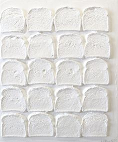 Chris Martin, White Bread, 2010–2011 Acrylic and polymer medium on bread on wood, 24 x 20 in. Courtesy of the artist and Mitchell-Innes & Nash, New York. Photo: Jason Mandella.