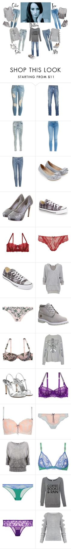 """""""Movie Night In..."""" by foreevers ❤ liked on Polyvore featuring Frame Denim, Boohoo, STELLA McCARTNEY, Accessorize, Rainbow Club, Converse, Heidi Klum Intimates, Project Social T, Timberland and High Heels Suicide"""