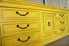 Refinished yellow dresser for the master bedroom. It's finished!
