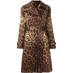 Dolce & Gabbana leopard print trench coat ($2,206) ❤ liked on Polyvore featuring outerwear, coats, brown, pattern coat, brown coat, double-breasted trench coats, brown trench coat and trench coat