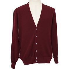 Retro 1980's Caridgan Sweater (Puritan) : 80s -Puritan- Mens maroon... ($27) ❤ liked on Polyvore featuring men's fashion, men's clothing, men's sweaters, mens vneck sweater, mens roll neck sweater, mens sweaters, mens maroon sweater and mens cardigan sweater