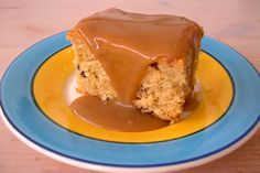 treacle sqaure with butterscotch sauce