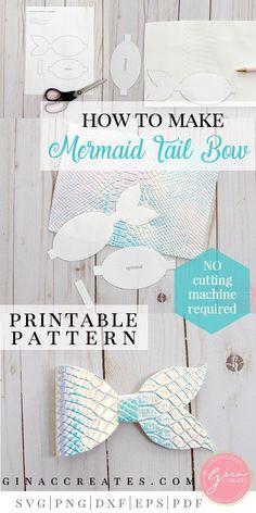 Diy Crafts - mermaid tail bow tutorial with free printable Mermaid Crafts, Mermaid Diy, Mermaid Tails, Making Hair Bows, Diy Hair Bows, Diy Bow, Fabric Hair Bows, Ribbon Hair, Hair Bow Tutorial