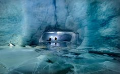 British adventure photographer Robbie Shone descended into the Gorner Glacier near Zermatt in Switzerland to capture spectacular pictures of ice caves